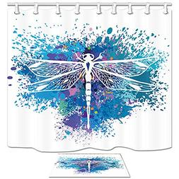 KOTOM Dragonfly Boho Shower Curtain, Insect Animal on Colorf