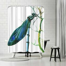 Americanflat 'Dragonfly' Shower Curtain White