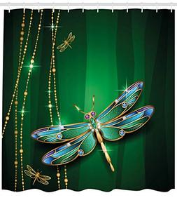 Ambesonne Dragonfly Shower Curtain, Vivid Figures in Gemston