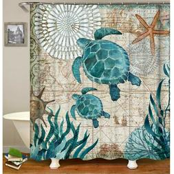 Eaiven Halloween Shower Curtain, Ocean Blue Teal Sea Turtle