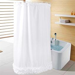Eanshome solid white ruffles polyester fabric water repellen