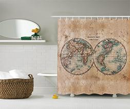 Ambesonne Earth Tones Decor Collection, Old World Map from 1
