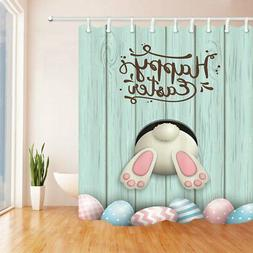 Easter Funny Cartoon Shower Curtain Rabbit Eggs Bathroom Cur