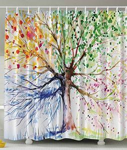 Homeda Easter Shower Curtain, Funny Tree Shower Curtain,Poly