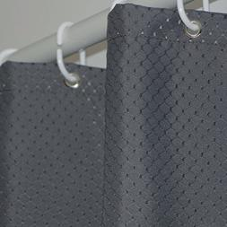 Eforgift Modern Charcoal Waffle Weave Fabric Shower Curtain