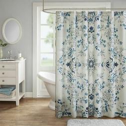 "Madison Park Eden Cotton Printed Shower Curtain 72x72"" Stone"
