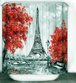 """Eiffel Tower Red Flower Trees Fabric Shower Curtain 70"""" Blac"""