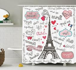 eiffel tower shower curtain decor