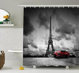 Ambesonne Eiffel Tower Shower Curtain Set Paris Decor, Artis