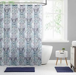 Elegant Blue Green Purple Fabric Shower Curtain: Large Flora