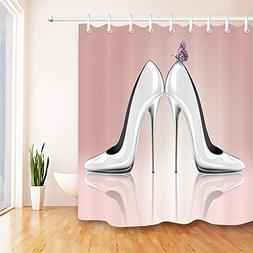 LB Elegant Butterfly on High Heel Shoes Bath Curtain by, Chi