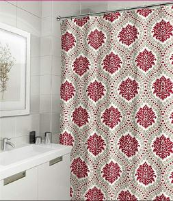 Elegant Embossed Fabric Shower Curtain: Red Taupe White Flor