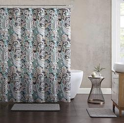 Elegant Gray Mint Green Beige Fabric Shower Curtain: Large F