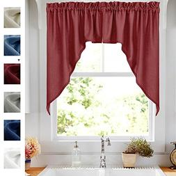 Elegant Swags Café Curtains for Kitchen, Home Decor Semi Sh