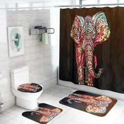 Elephant Bathroom Polyester Shower Curtain Non Slip Toilet C
