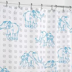 "mDesign Elephant Fabric Shower Curtain - 72"" x 72"", Gray/Blu"