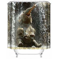 Ajingken Elephant Shower Curtain 3D Printing Digital Bath De
