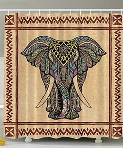 Elephant Shower Curtain Decor Ethnic Tribal Chevron Frame Ma