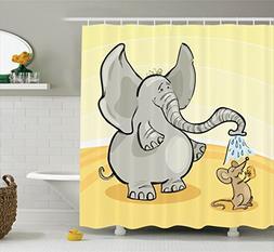 Ambesonne Elephants Decor Shower Curtain Set, Elephant Bathi