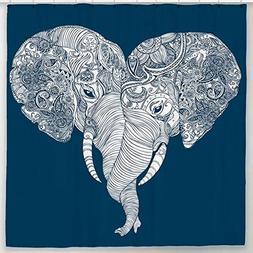 Elephants Shower Curtain with Indian Yoga Animal Print Navy