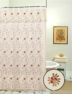 Embroidered Roses Shower Curtain Beige FREE S&H 8254