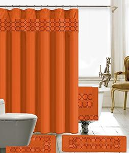 BH Home & Linen 18 Piece Embroidery Banded Shower Curtain Ba