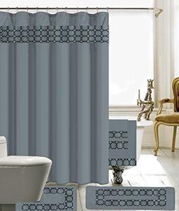 18 Piece Embroidery Banded Shower Curtain Bath Set 1 Bath Ma