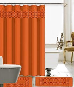15 Piece Embroidery Banded Shower Curtain Bath Set 1 Bath Ma