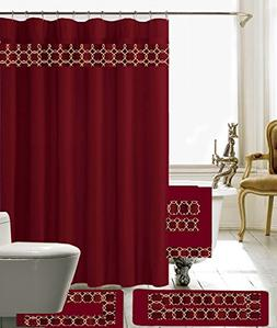 18 Piece Embroidery Banded Shower Curtain Bath Set 1 Bath Ma