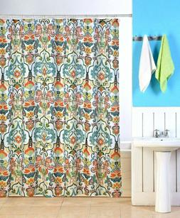 EMERY FABRIC SHOWER CURTAIN, COLORFUL FLORAL GEOMETRIC DESIG