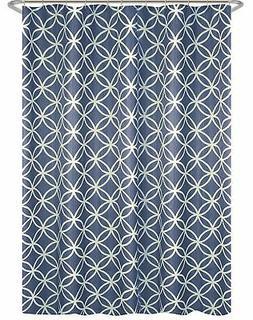 Maytex Emma Blue & White Geometric Print Fabric Shower Curta