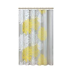 Comfort Spaces – Enya Shower Curtain – Yellow, Grey –