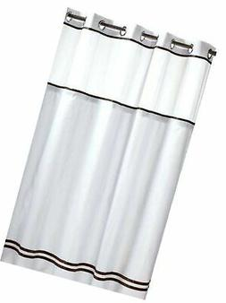HOOKLESS ESCAPE SHOWER CURTAIN WITH SNAP-IN LINER, WHITE WIT
