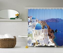 Ambesonne European City Decor Collection, Santorini Greece S