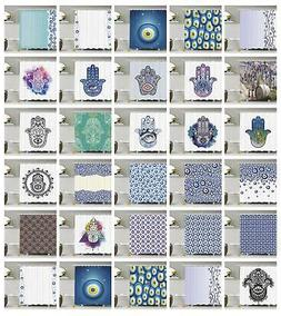 Evil Eye Pattern Shower Curtain Fabric Decor Set with Hooks