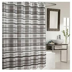 Ex-Cell Glacier Pieced Shower Curtain, 70 by 72-Inch, Black