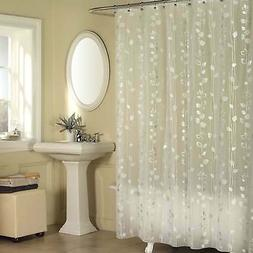 Excell Metallic Ivy Pattern Clear Vinyl Shower Curtain - Sil