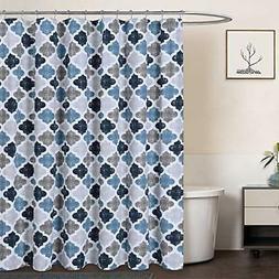 Extra Long Shower Curtain 96 Inch, Geometric Quatrefoil Patt