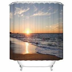Extra Long Shower Curtain by Goodbath, Ocean Beach Sunset De
