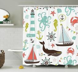 Extra Long Shower Curtain Decor by Ambesonne Sea Creatures R