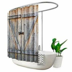 Extra Wide Barn Door Shower Curtain Clawfoot Tub 108Wx72H In