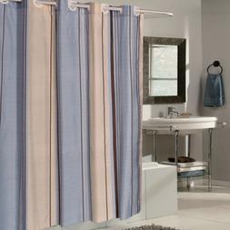 "EZ On Blue Tan Striped Fabric 70""x75"" Hookless Shower Curtai"