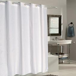 "EZ On White Check Fabric 70""x75"" Hookless Shower Curtain/Lin"