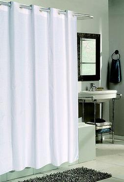 EzUp Checks Design Hookless Fabric Shower Curtain/Liner - As