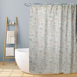"Fabric Bathroom Shower Curtain, 70""x70"", Jamie Fun Nautical"