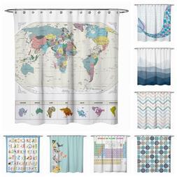 Fabric Shower Curtain Cat World Map Mermaid Bathroom Teal Bl
