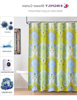 Kingmily Fabric Shower Curtain, Paisley, Yellow Baby Blue Wh