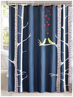 LanMeng Fabric Shower Curtain, Love Birds in the Woods, Navy