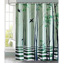 LanMeng Fabric Shower Curtain, Swallow Flying Through The Tr