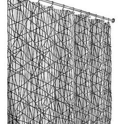 Fabric Shower Curtain Interdesign Abstract White  Black Long